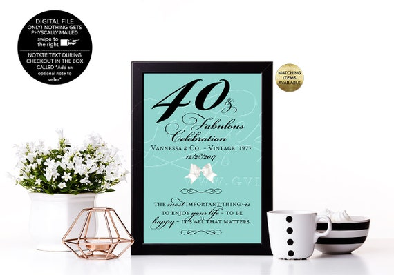 40th and Fabulous Birthday Decoration Sign/ 50th 60th 70th Bday Party Audrey Hepburn Quote Signs Table Centerpiece/ Surprise Party