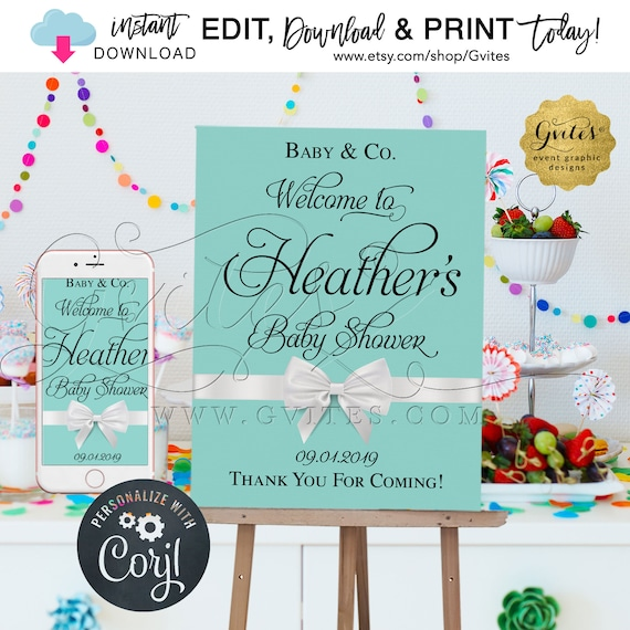 "Baby and Co Welcome sign Baby Shower/ breakfast at and co/ printable/ blue poster/ decorations. Editable Name & Date ONLY! {Size: 18x24""}"