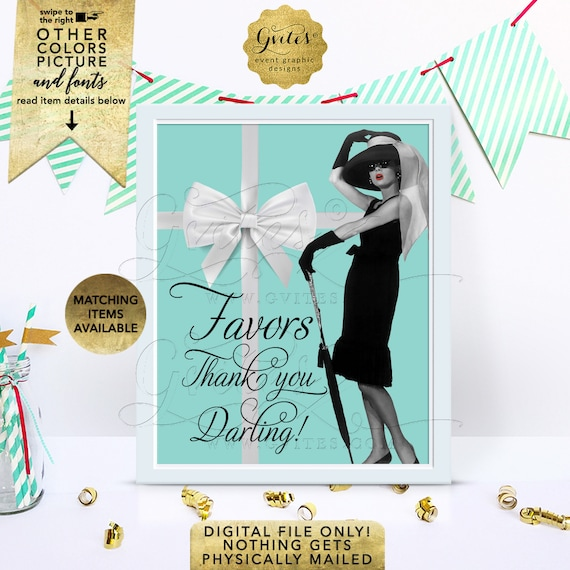 """Audrey Hepburn Table Decorations, Favors Sign/ Wedding Personalized Decorations/ Dessert Table/ Birthday Custom Signs/ 8x10"""" Digital Only!"""