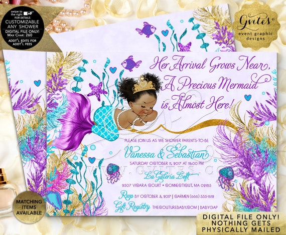 Afro Puffs Vintage Baby Shower Mermaid Invitation Turquoise Purple Lavender Gold  | JPG + PDF by Gvites