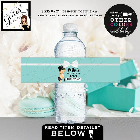 Breakfast at little man water bottle labels/ baby and co decorations/ favors/ stickers/ bottle wrapper/ printable/ 8x2 5/ Per Sheet