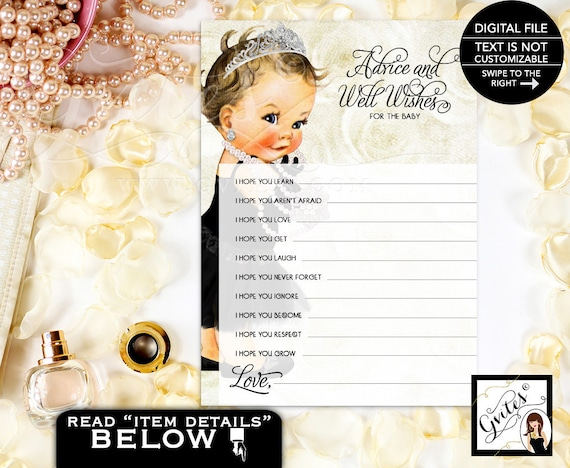 Advice For Princess Baby Black Dress Crystal Tiara Pearl Necklace/ Wishes for Vintage Baby Girl Princess/ 3 Skin Tones PRINTABLE