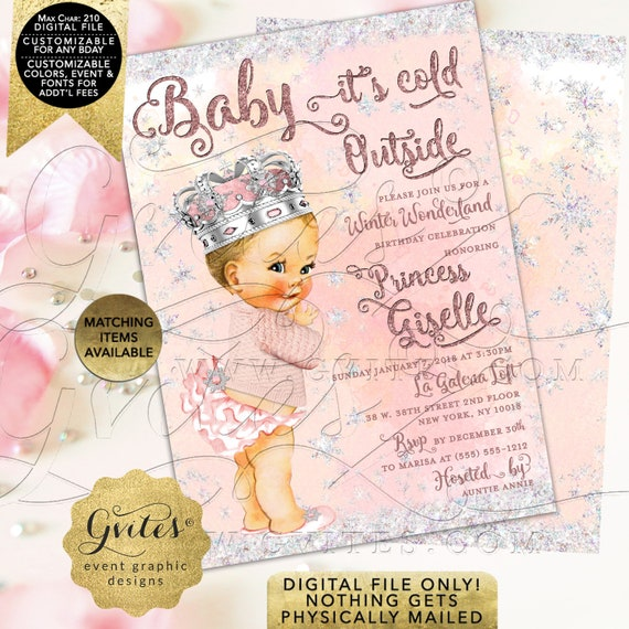 "Baby It's Cold Outside Princess Winter Wonderland Birthday Printable Invitation | Birthday | 5x7"" Double Sided"