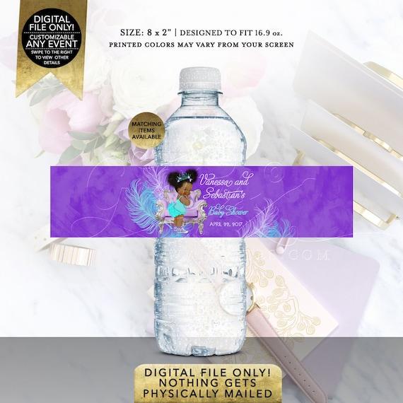 "Water Bottle Label Purple/Lavender Turquoise | Party Favors Baby Shower Vintage | Printable Digital File | JPG + PDF | 8x2"" 5 Per Sheet"