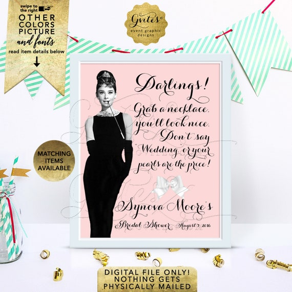 Audrey Hepburn personalized, bride and co, blush pink BRIDAL SHOWER, party sign PRINTABLE 8x10. {Customizable Name & Date Only}