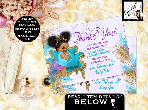 "Cute Baby Shower Thank You Cards/ Purple Turquoise African American Baby  {5x3.5""} {TIACH-105}"