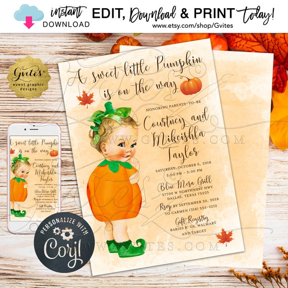 Vintage themed baby shower. A sweet little pumpkin is on the way. Fall/Autumn baby shower invitation. {Edit w/Corjl}