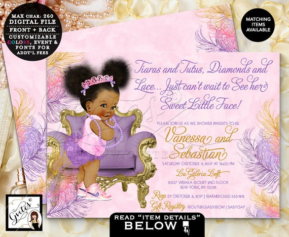 Pink Purple and Gold Baby Shower/ African American Princess Invites/ Afro Bun Puffs Tiara Digital file/ Printable/ 7x5 Double Sided. Gvites