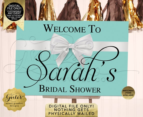 Blue Welcome Signs Bridal Shower | Audrey Hepburn Breakfast Theme Decoration Entrance Posters/ Centerpiece/ Backdrop Digital JPG + PDF