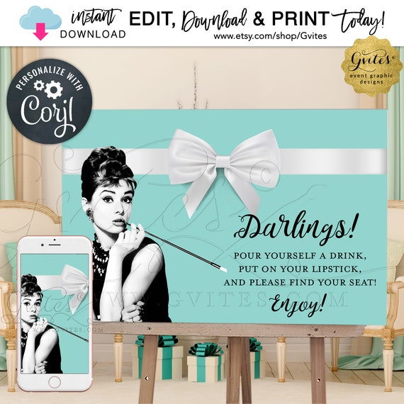 Darlings! Welcome Bridal Shower Printable Poster Sign / Audrey Hepburn Breakfast Blue Theme {Can print 36x24 & 18x12}