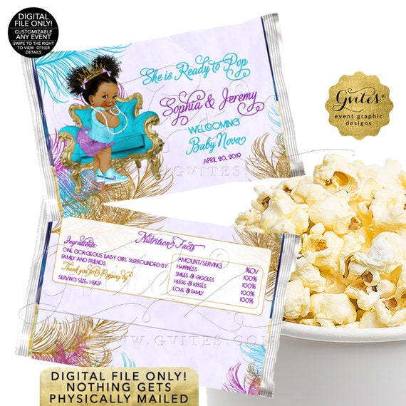 She's Ready To Pop | Popcorn Wrappers Turquoise Purple Gold Baby Shower Invitation | African American TIACH-105 By Gvites