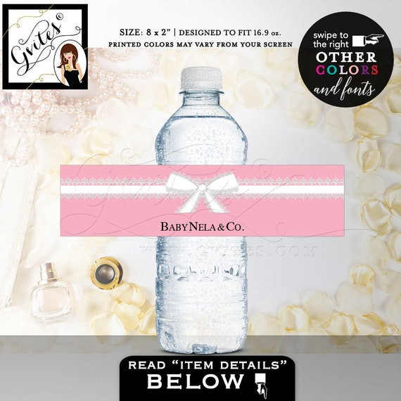 """Pink Water Bottle Labels For Baby Shower 