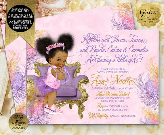 Princess Pink and Purple Invitations, Ribbons and Bows Tiaras and Pearls.