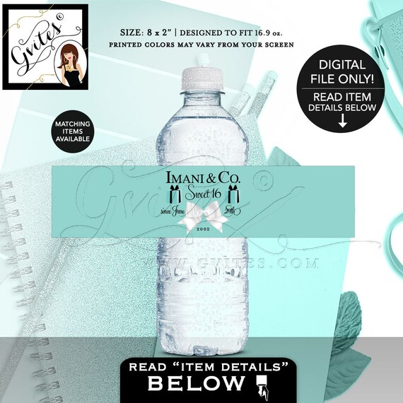 """Birthday Party Water Bottle Labels / Sweet 16 Party Favors Keepsake Gifts / Turquoise Blue & White Bow Printable DIY 8x2"""" 5 Per/Sheet"""