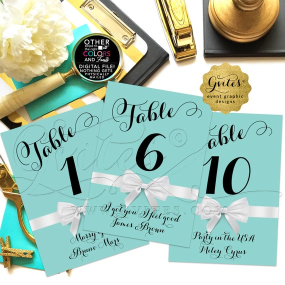 "Personalized Blue Wedding Table Numbers/ Reception Decorations/ Signs Bridal/Wedding/ Sweet/ Birthday Party  JPG + PDF | 4x6"" or 5x7"""