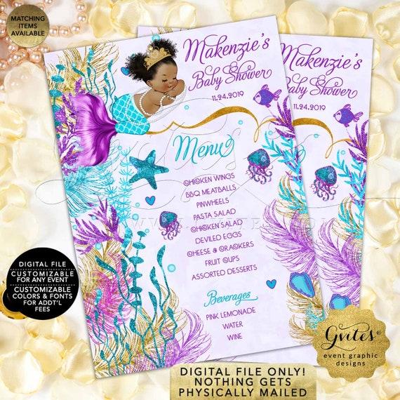 Afro Puffs Vintage Baby Shower Mermaid Menu Cards Turquoise Purple Lavender Gold | Printable/Digital JPG + PDF 5x7/2 Per Sheet | by Gvites