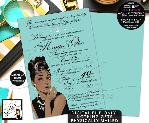 Audrey Hepburn Printable Invitation | 40th/50th/60th Adult Women Birthday Party Invites