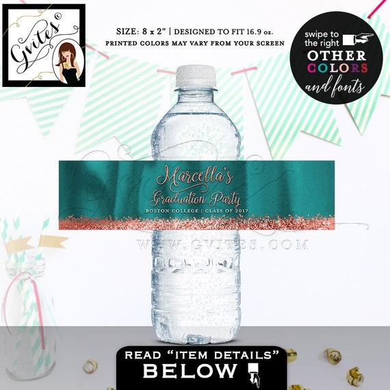 """Water Bottle Labels Graduation water stickers, personalized teal and copper sticker, bottle wrapper label. 8x2""""/5 Per Sheet."""