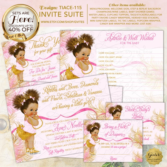 Rose Pink & Gold Afro Puff THEME SET Baby Baby Shower Invitation