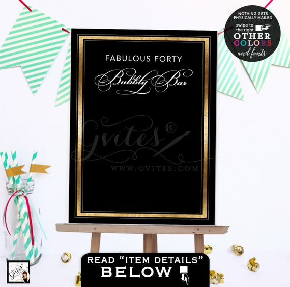 Fabulous Forty Backdrop Sign Table Dessert Cake Backdrop. Black and gold poster/ customizable text/ Adult birthday/ gold. Digital file only.