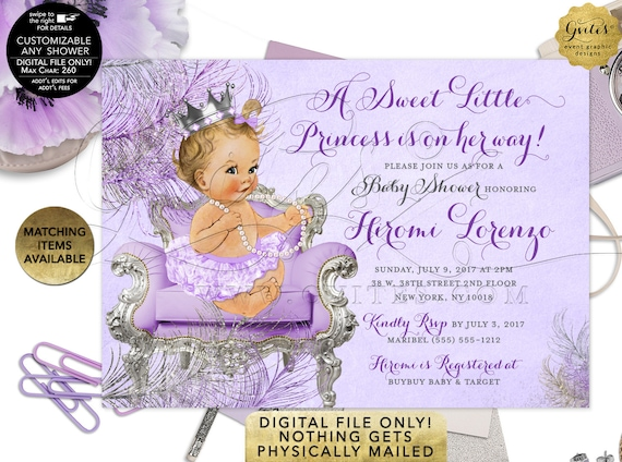 Lavender Baby Shower Printable Invitations   JPG + PDF by Gvites