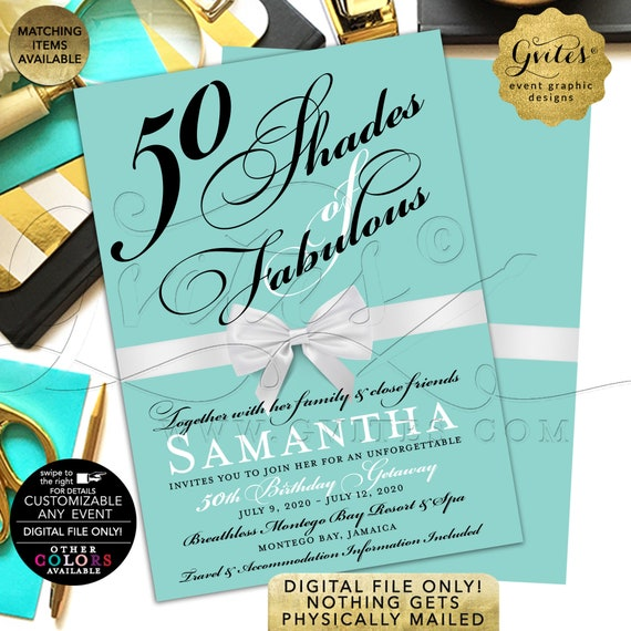 "50 Shades of Fabulous Birthday Getaway Customizable Invitation. 5x7"" Double Sided. DIY/JPG/PDF Printable File."