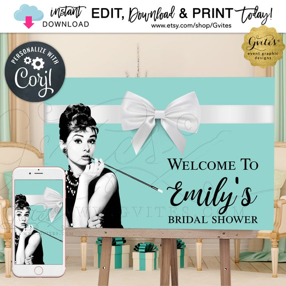 Welcome Bridal Shower Printable Poster Sign / Audrey Hepburn Breakfast Blue Theme {Can print 36x24 & 18x12}