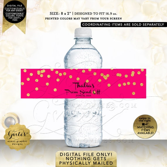 Prom Send Off Water Bottle Labels Wrappers/Favor/Gifts | Hot Pink & Gold Polka Dots. Personalized | Printable JPG + PDF