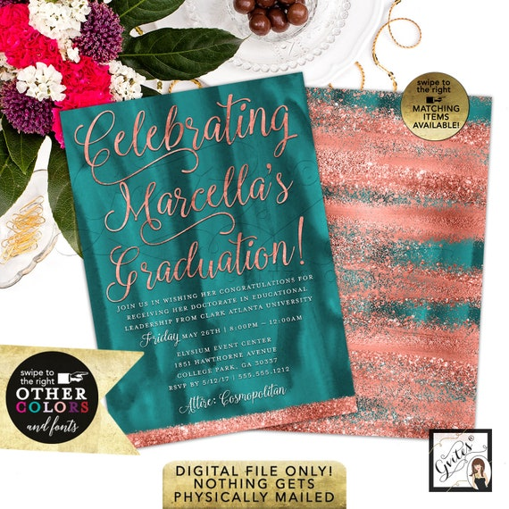 Teal & Copper Graduation Invitations/ Printable Coral Custom Invites/ High School College Graduation Party