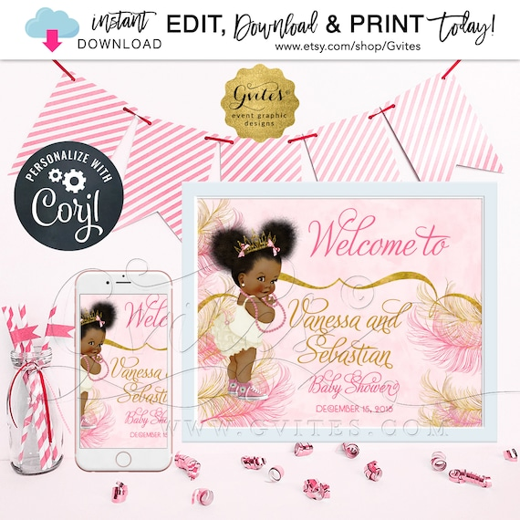 """Pink Gold Welcome Sign Baby Shower/Princess African American Baby Girl/Decorations/Table Signs/Afro Puffs Poster {Size(s): 14x11"""" & 10x8""""}"""