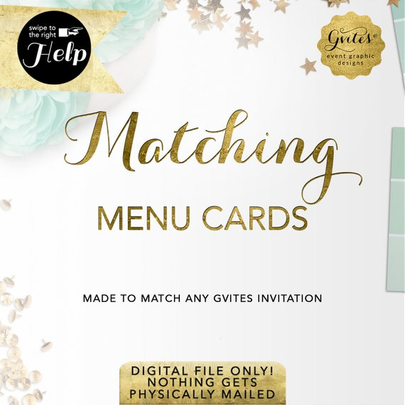 Matching Menu Cards Add-on - To coordinate with any Gvites invitation design.