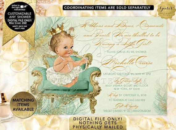 Mint Gold Baby Shower Vintage Invitations | Digital File Only! JPG + PDF Format | By Gvites | Design: CWCHS-122