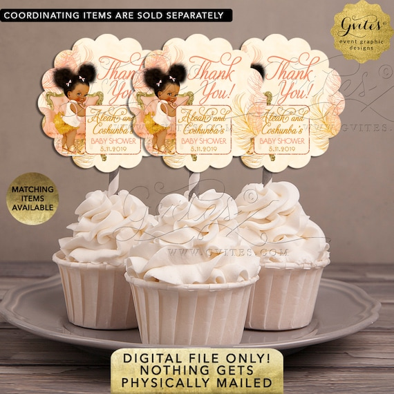Cupcake Toppers Pastel-Peach/ Coral/ Blush/ Gold/ Ivory/ Party Favors Dessert Table Decoration/ Afro Puffs Girl/ Printable/ Digital