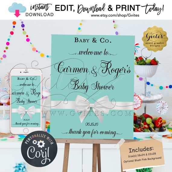 Welcome Coed Baby Shower Signage Poster/ Signs Decorations/ Breakfast Co/Vintage Decor {Includes: Blush Pink & Blue/Size(s) 18x24/22x28}