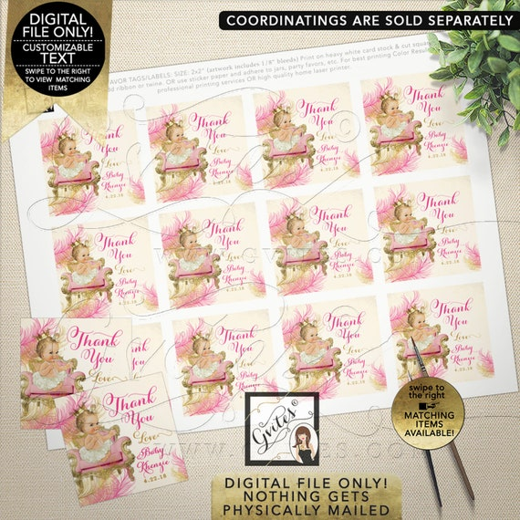"Pink Gold Thank You Baby Shower Tags. Personalized labels, stickers, party favors, Digital File Only!  2x2"" 12/Per Sheet"