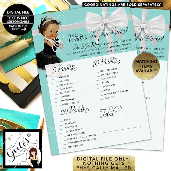 """Whats In Your Purse Baby Shower Game. Printable cards. 5x7""""/2 Per Sheet {INSTANT DOWNLOAD/Baby: Dark Jet}"""