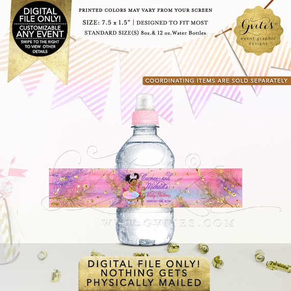Mini Unicorn Baby Shower Water Bottle Labels Princess | Digital File JPG + PDF Format | Design: UNCRN-101 By Gvites