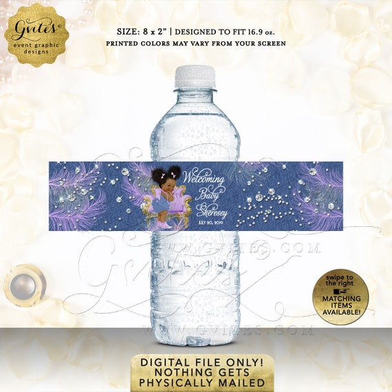 Denim and Diamonds Water Bottle Labels/ Blue Jean Gold Purple/ Lavender Party Favors/ Afro Puffs Baby Girl Theme Printable