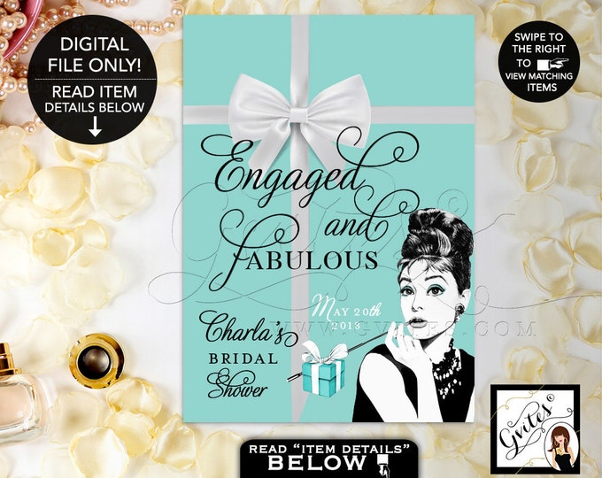 Engaged Sign Personalized, Audrey Hepburn Party Signs, Thank You, Breakfast at, bridal shower decorations. {4x6 or 5x7}. Gvites