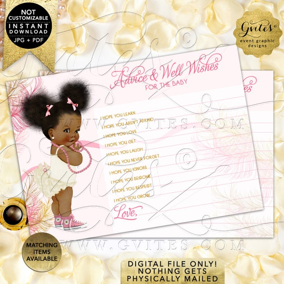 Afro Puffs Baby Shower Advice Cards and Wishes For Baby | Printable JPG + PDF Instant Download | RAPCE-103 by Gvites