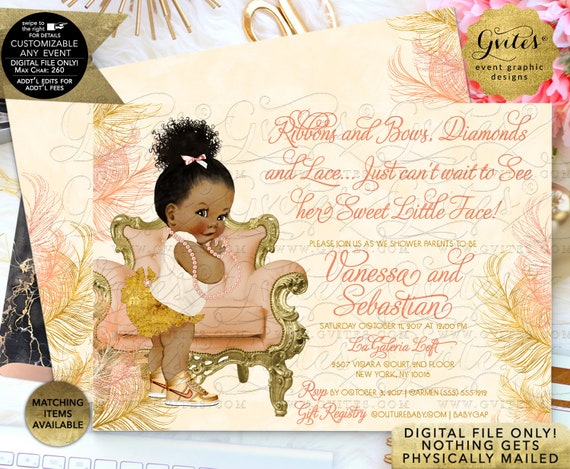Gold Ivory Peach Baby Shower Invitation | African American Afro Puff/Bun Curly | Printable JPG + PDF | By Gvites