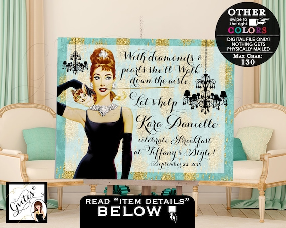 Breakfast at Party Sign - Bridal shower Table backdrop decor - welcome poster sign - Audrey Hepburn - turquoise and gold - PRINTABLE.
