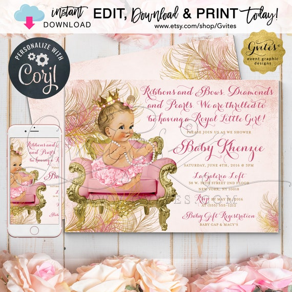 "Blush Pink and Gold Royal Princess Baby Shower Invitations. Vintage Girl Invitation/ Diamonds Pearls 7x5"" Edit w/Corjl"