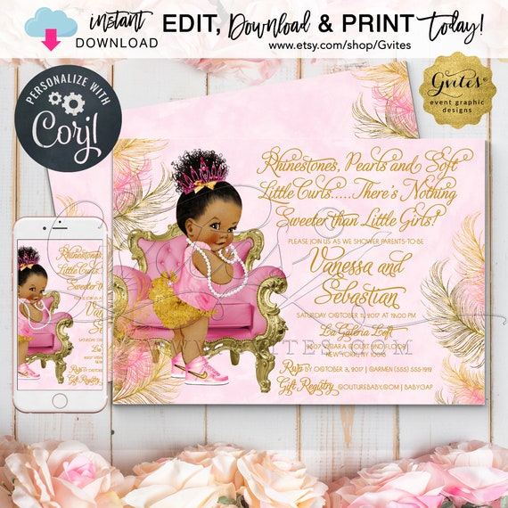 Royal Pink Gold Baby Shower Princess Printable Invitation | Dark Bun Curly {Edit & Print Today w/Corjl}