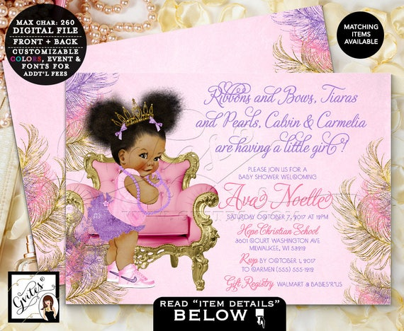 Pink Lavender & Gold Baby Shower Invitations/ Afro Puffs Princess Girl/ Printable/ Digital/ DIY 7x5 Double Sided