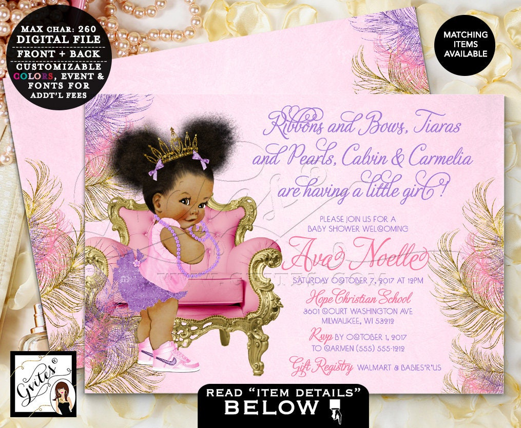 Pink Purple & Gold Baby Shower Invitation, Ribbons Bows Tiaras ...