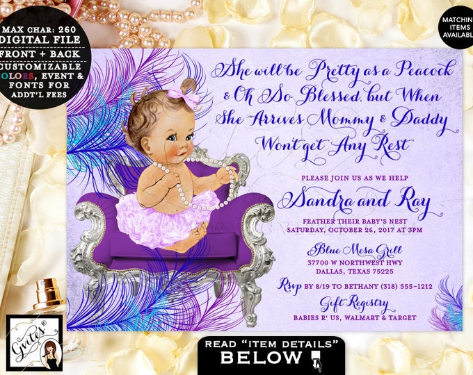 "Purple and Blue Peacock Baby Shower Invitation, Pink Turquoise Silver, Ribbons Tutus, Ballerina, Printable Invitations, Vintage, 7x5"" Gvites"