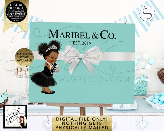 Baby and Co Backdrop Decorations/ Afro Puffs Curly Hair/ Ethnic Girl Baby Shower/ Black Ruffle Dress Tutu Princess Ballerina
