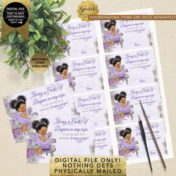 """Diaper Raffle Baby Shower   Princess Lavender and Silver   Diamonds & Pearls   3.5x2.5""""/8 Per Sheet   Instant Download   Dark/Puffs Curly"""