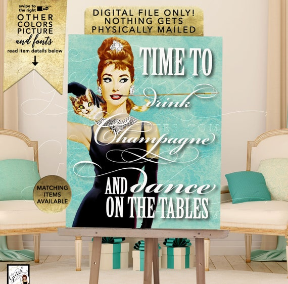 Custom Audrey Hepburn poster/ party signs/ wall art/ decor/ party supplies. Size(s) Avail: 12x16/ 16x20/ 18x24/ 22x28 {Drink Champagne}